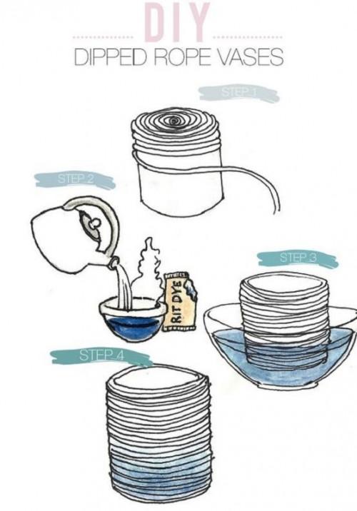 Окрашивание вазы из бечёвки
