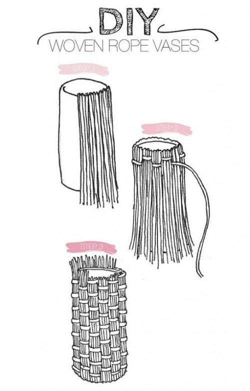 Декоративная плетёная ваза