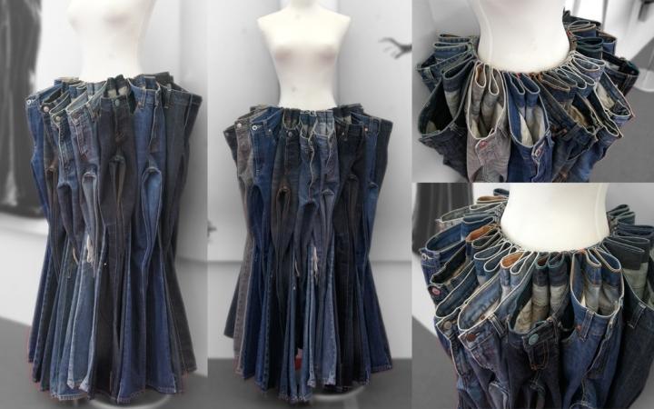Необычная инсталляция из джинсов, которые еще можно носить