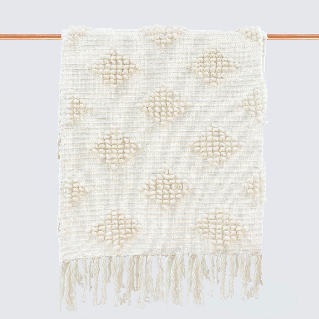 Необычный дизайн стульев: белый вязанный плед