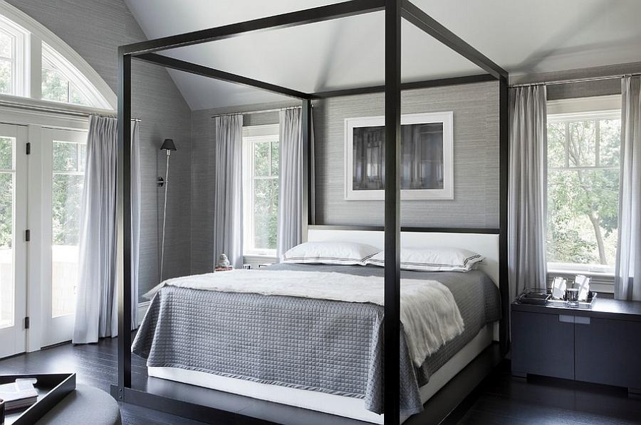 Серое оформление спальной комнаты
