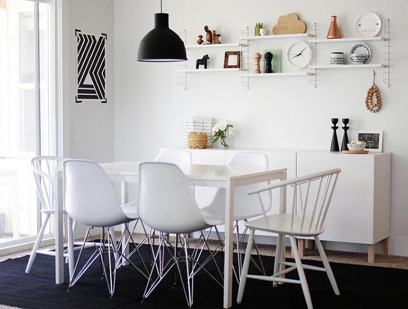 Белый обеденный стол и стулья Eames