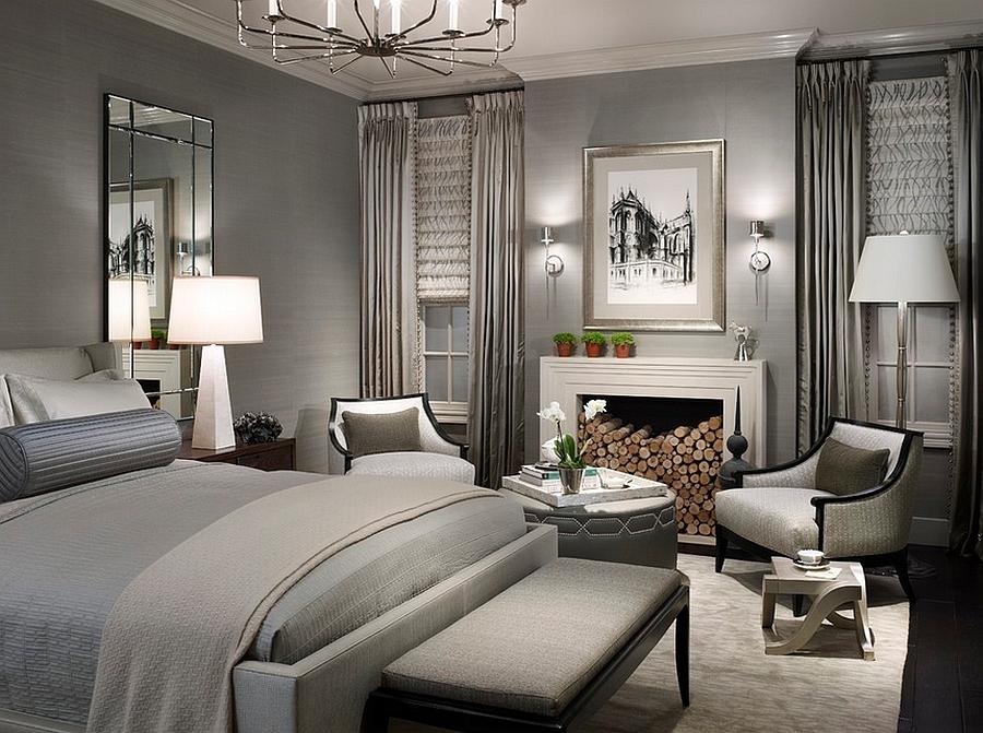 Оформление спальной комнаты в сером цвете