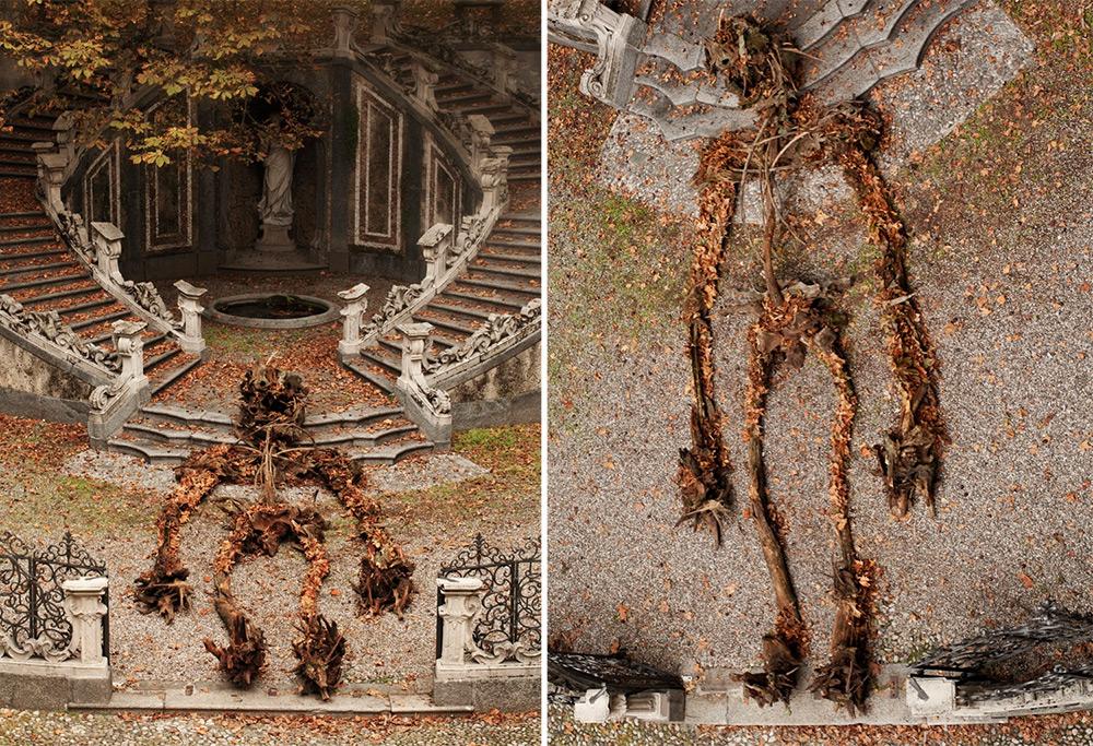 Забавная  аллегория осени от уличного художника Never2501: скелет из веток в идиллическом парке