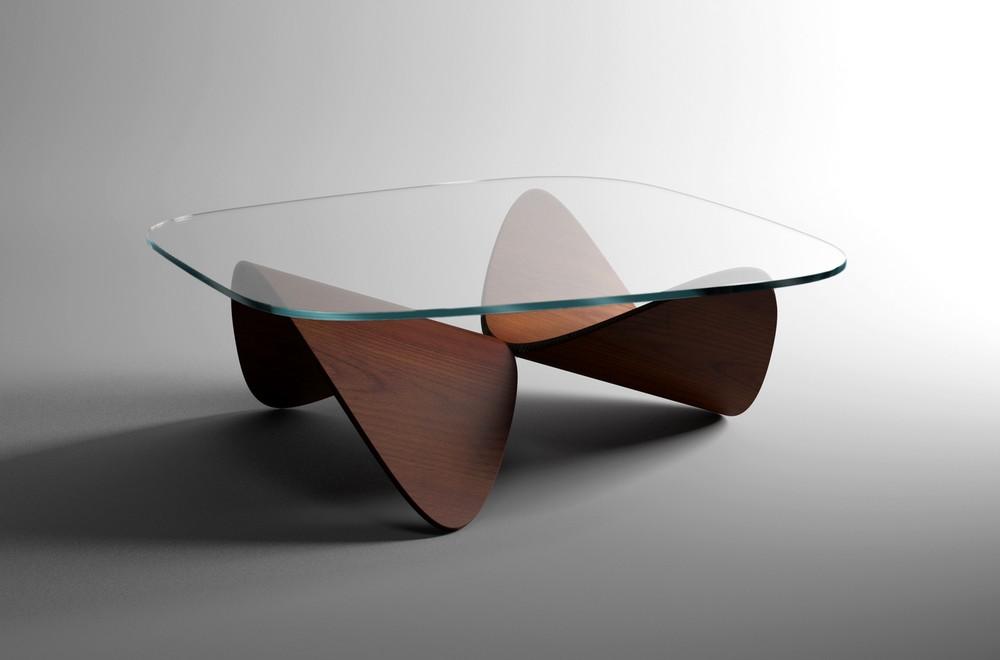 элегантный журнальный столик Oak Sofa Table скульптурные формы и