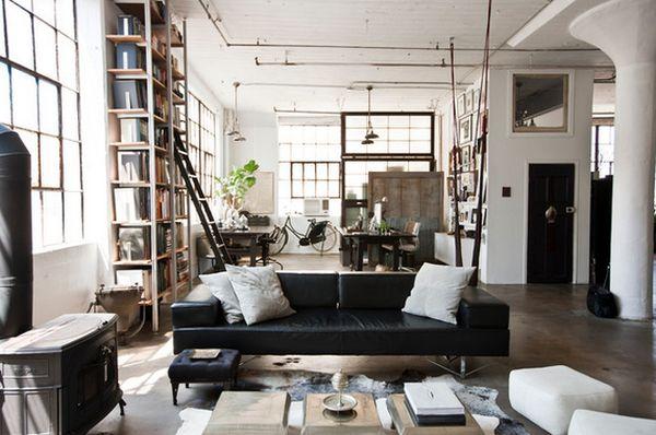 Оформление гостиной в индустриальном стиле