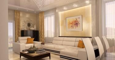 Чудесное оформление гостиной-столовой