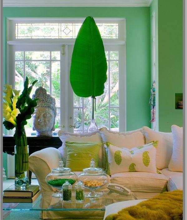 Красивое оформление гостинной зоны в зеленных цветах