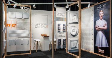 Оформление выставочного зала от студии A&B Project для стенных плиток фирмы NMC