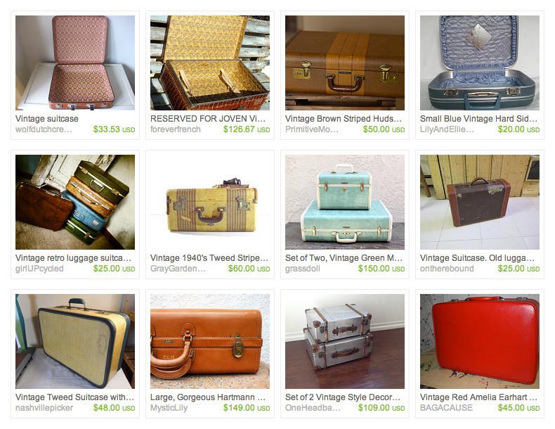 Каталог старинных чемоданов на Etsy