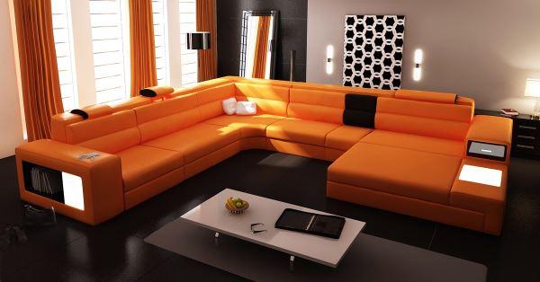 Многосекционный оранжевый диван