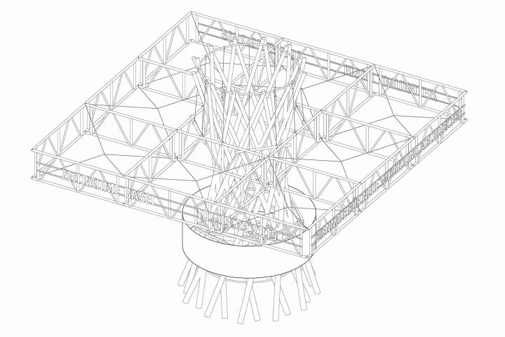 Оригинальный временный павильон для биеннале в Швейцарии: конструкция подвижной крыши