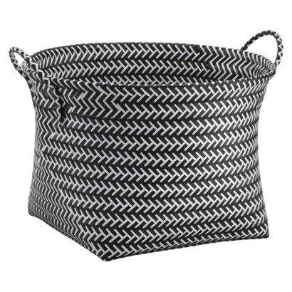 Оригинальные плетёная корзина в чёрно-белом цвете