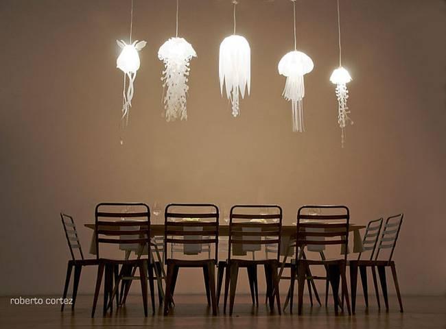 Оригинальные прозрачные светильники в интерьере