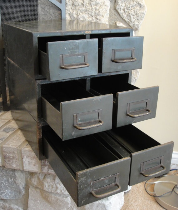 Original drawers, cabinets and racks of steel