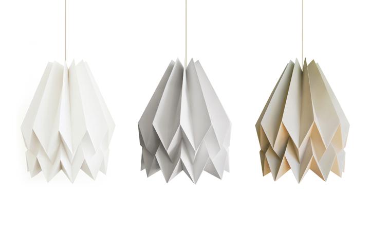 Origami lamp: collection of Orikomi lamp shades from Blaanc studio