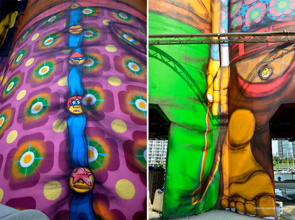 Os Gemeos: giant cement murals at a cement plant - a new landmark in Vancouver
