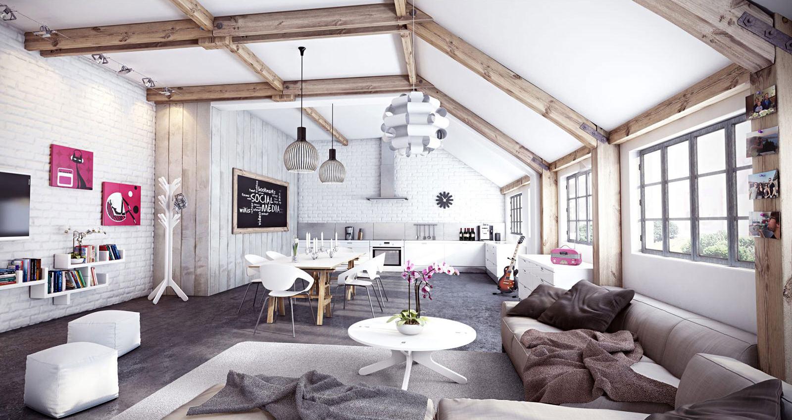 Интерьер квартиры в скандинавском стиле с потолочными балками из светлого дерева