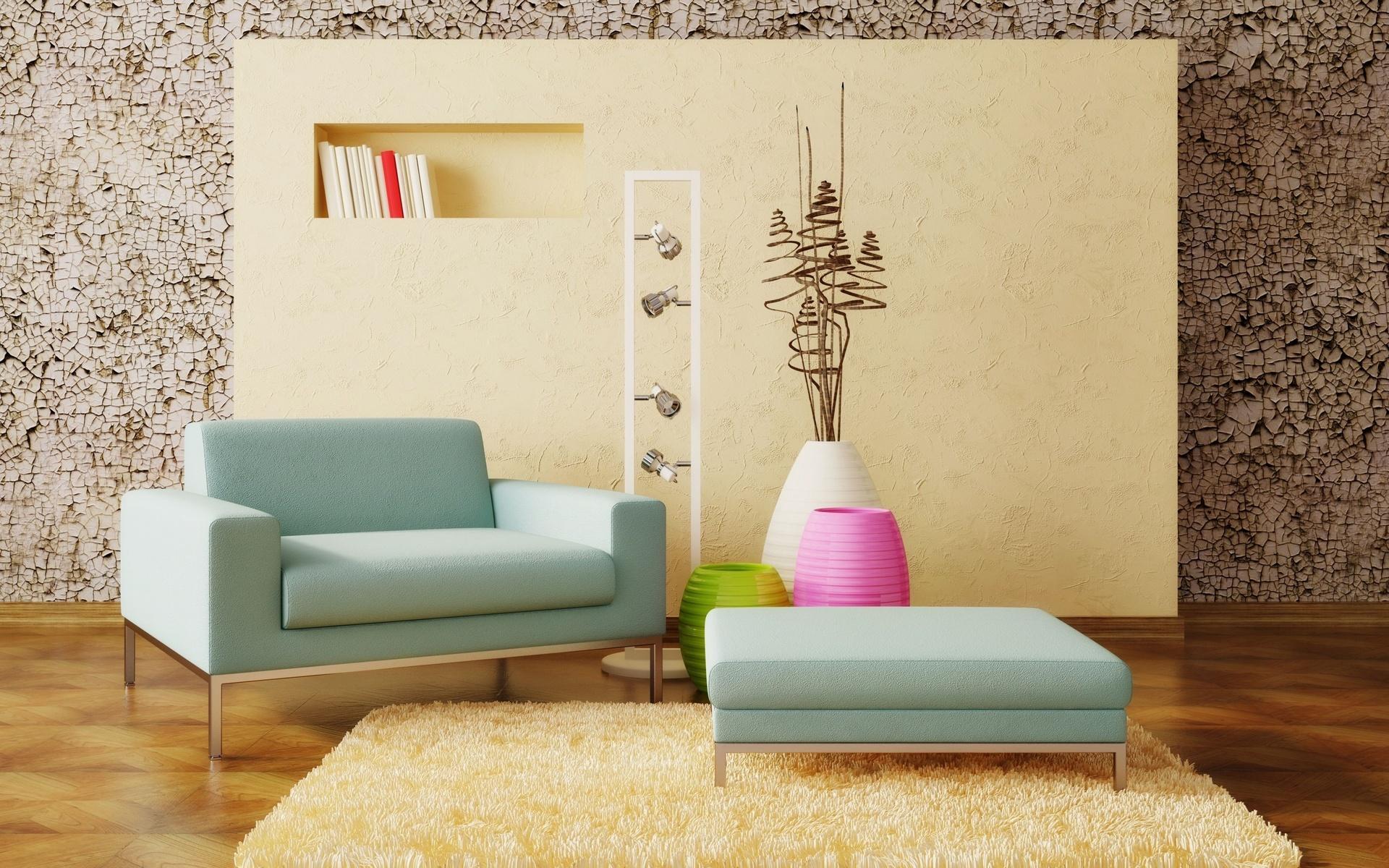 Шерстяной ковер в интерьере комнаты