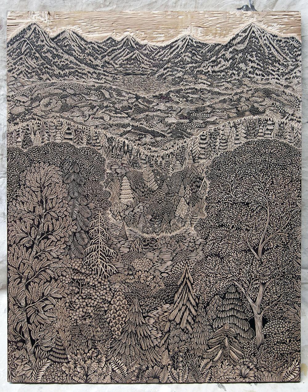 Mirador: Grabado en madera de Paul Rodin y Valerie Lue