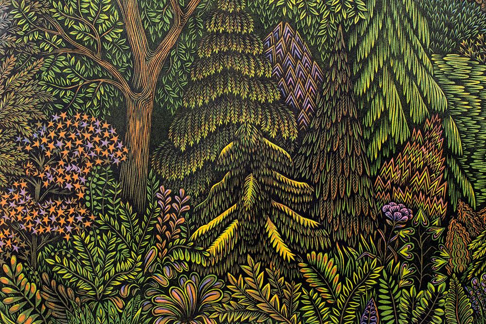 Гравюра по дереву Overlook от Пола Родена и Валери Луэт: фрагменты и этапы создания