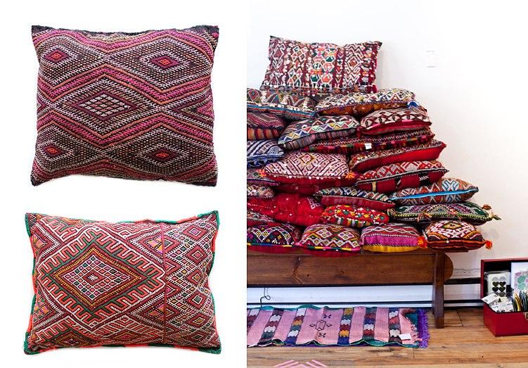 Креативные подушки в чехлах из натуральной ткани