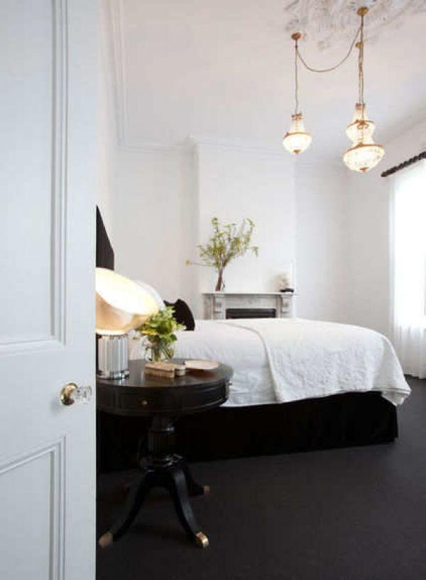 Подвесные светильники в интерьере спальной комнаты