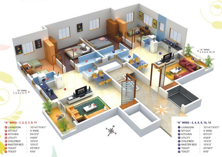 3D план использования перегородок в офисе