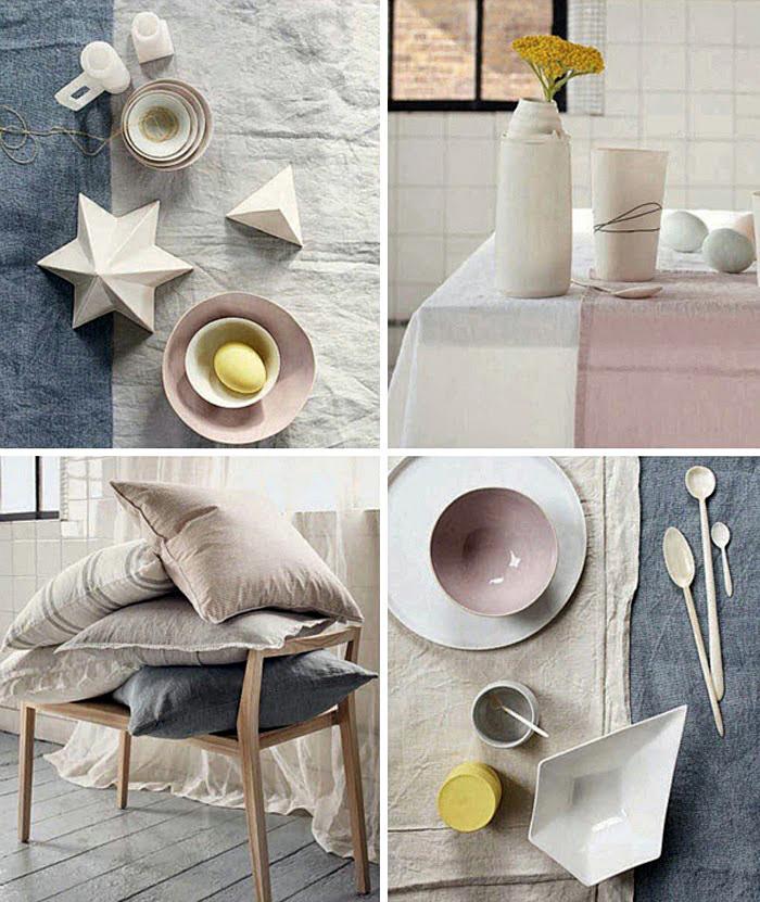Фото коллаж: подушки на стуле и посуда в интерьере