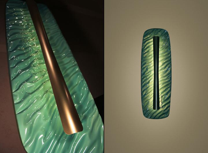 Lámparas interiores de vidrio y metal Terra y Aqua.
