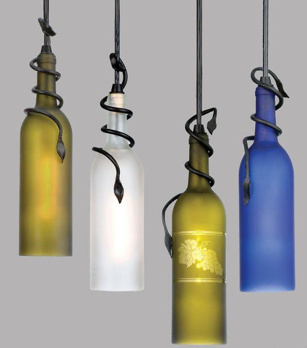 Светильники из матовых винных бутылок