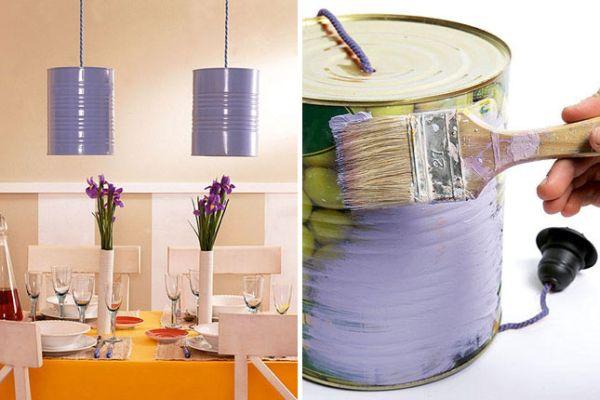Светиьники из окрашеных банок из-под консервированных продуктов