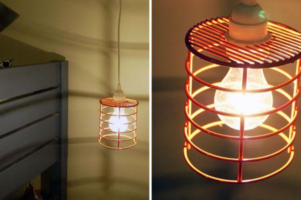 Подвесной светильник из держателя для посуды