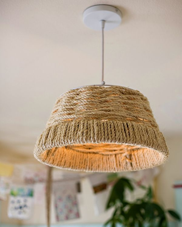 Подвесной светильник из верёвок