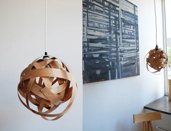 Плетёный светильник из бамбука