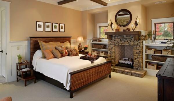 Универсальное оформление спальни с камином