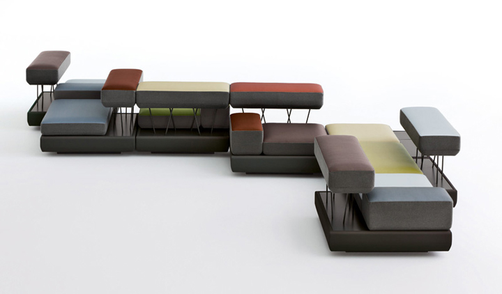 The osko deichmann multi-storey design is a progressive system of organizing passive rest while waiting in the lobby.