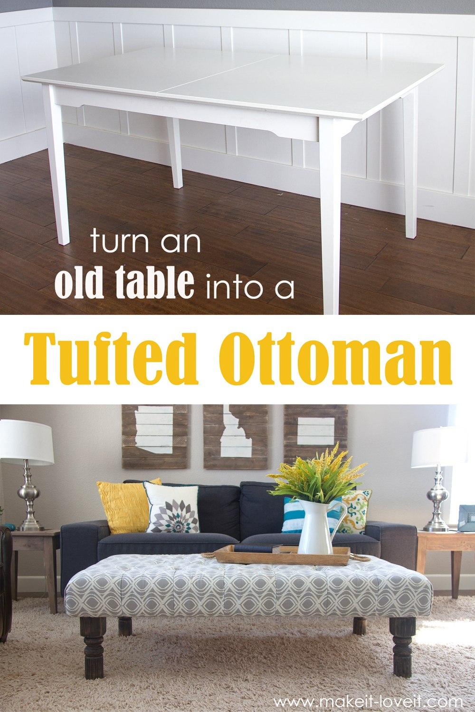 Оригинальный способ сочетать светлого пуфика с синим диванном