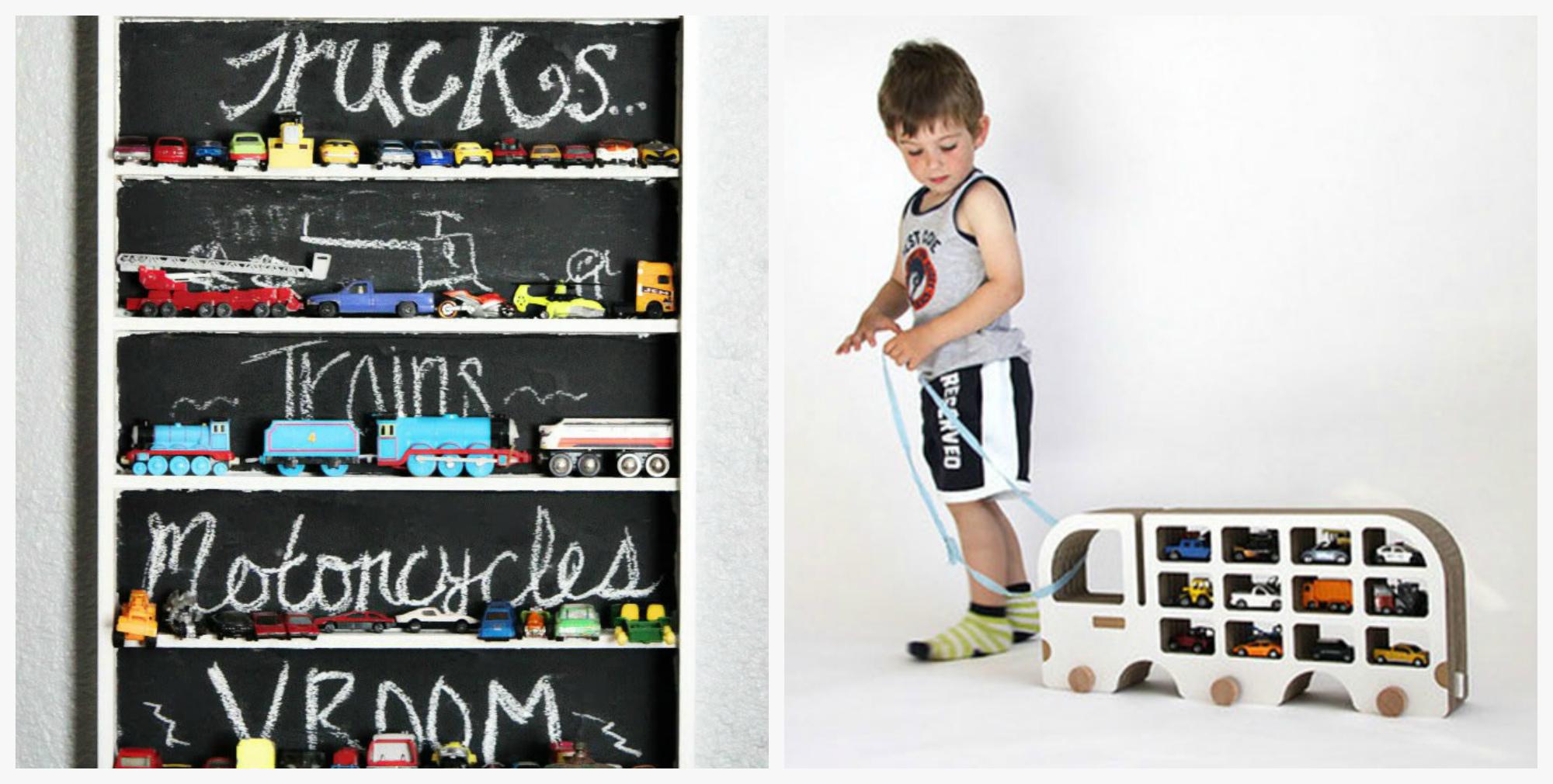 Разнообразные полки для машинок в детскую комнату