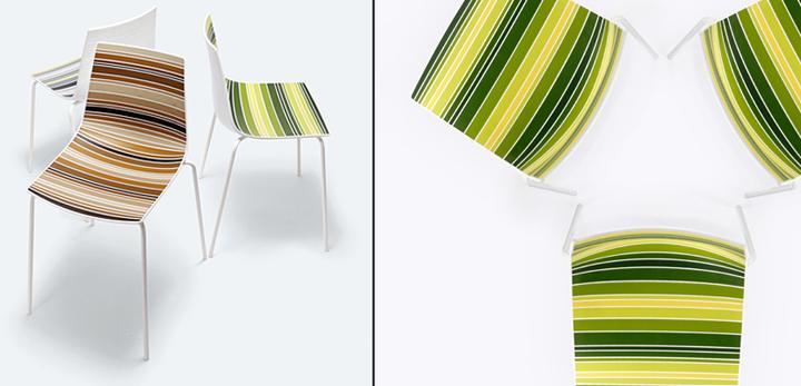 Красивые стулья Claire в полосатой обивке от Стефано Сандона