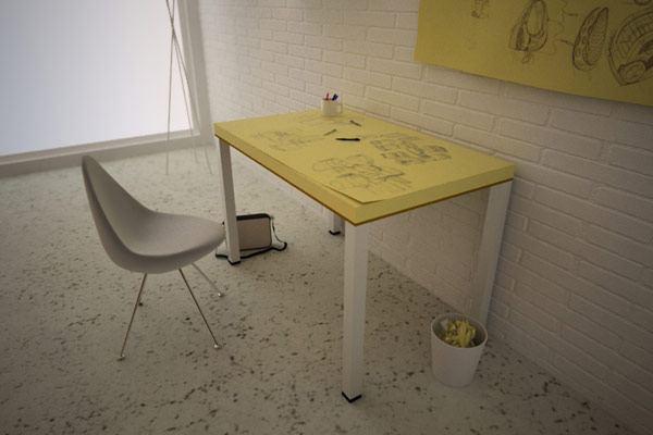 Креативный стол-альбом для проектирования, кресло и корзина