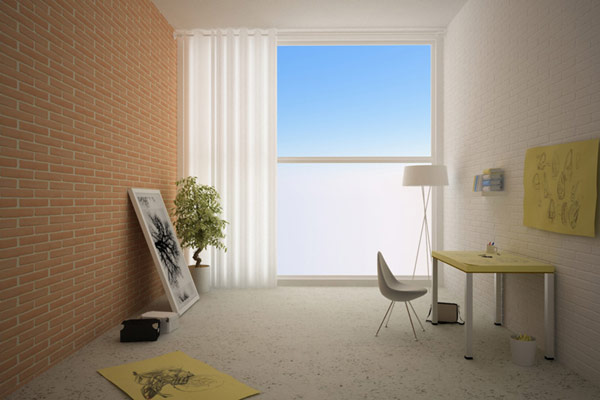 Прекрасный стол-альбом для проектирования, светильник, стул и элементы декора в комнате