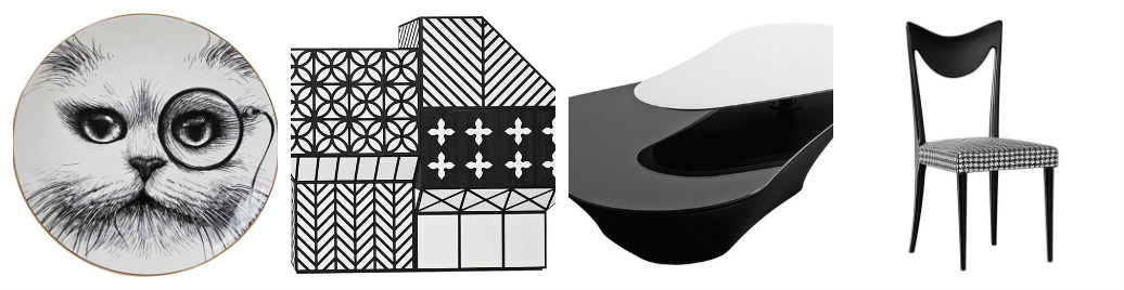 Черное-белые предметы интерьера