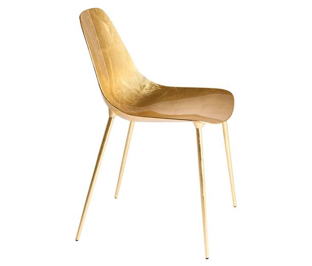 Дизайнерский стул Mammamia из сусального золота и алюминия