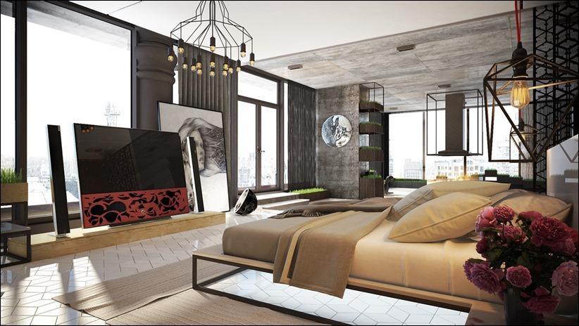 Современные дизайнерские светильники в интерьере спальни