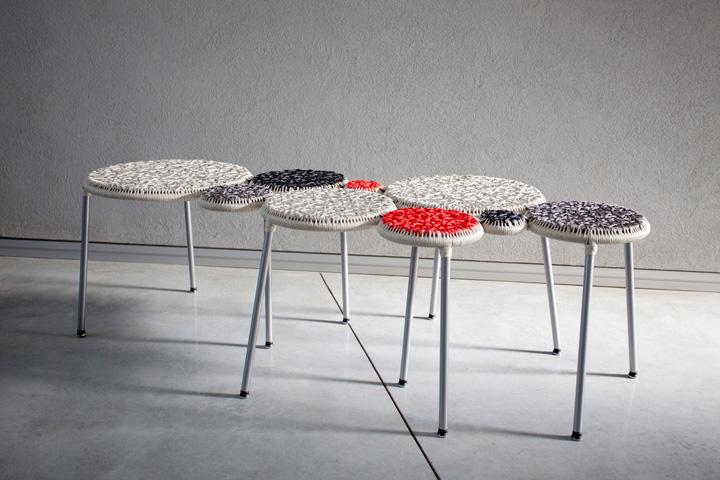 Красивая тканая скамейка Punti от Neil Nenner