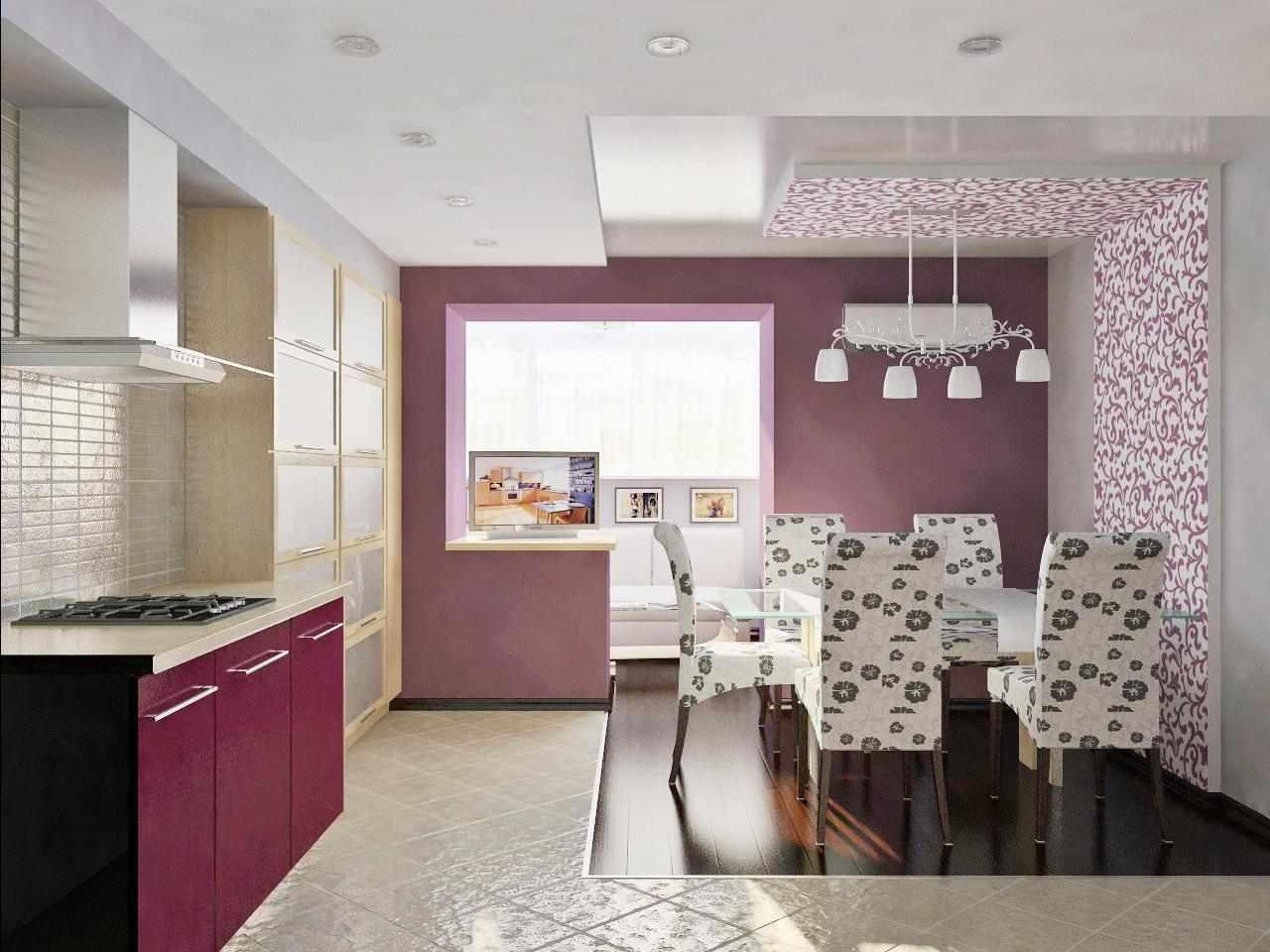 Фиолетовые акценты на кухне и столовой