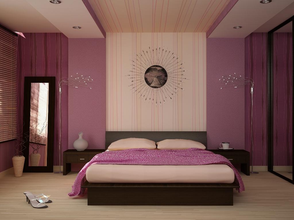 Оформление интерьера спальной комнаты в сиреневом цвете