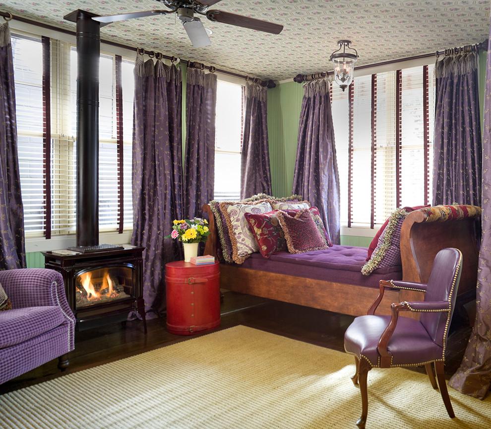 Сиреневые шторы и матрац в интерьере