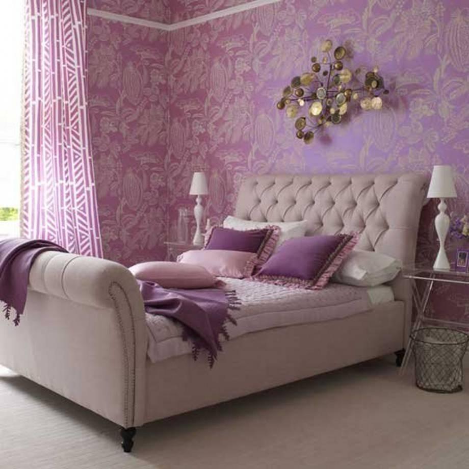 Применение сиреневого цвета в спальной комнате
